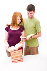 Man and girl with books