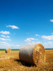 Countryside landscape with bales of hay