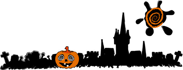 the vector halloween cemetery banner