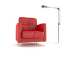 Red armchair and floorlamp