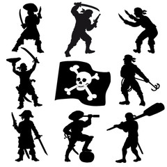 Pirates crew silhouettes