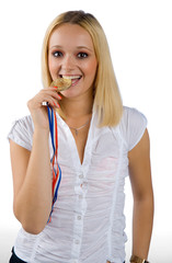 woman holding medal
