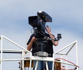 Cameraman working at bring you the news