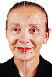 Senior woman with old skin face and retouched other half poster