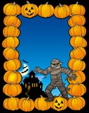 Halloween frame with mummy poster