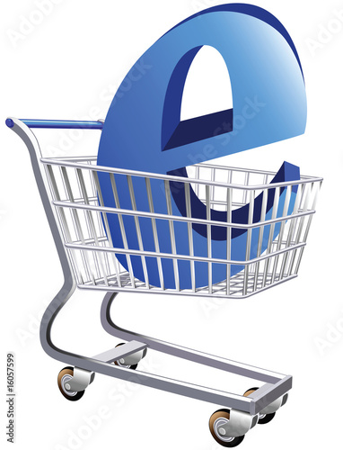 Illustration of a shopping cart  representing ecommerce