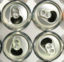 Soda can tops close up