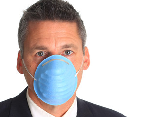 Man wearing a flu mask