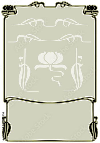 poster of Abstract framework from the bound plants in style art-nouveau