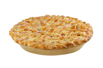 Peach Pie on White with Lattice Top