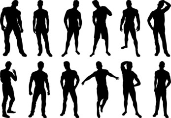Set of 12 sexy men silhouettes on white background