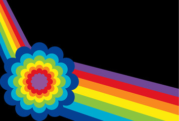 Angled Rainbow with Flower on black background