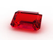 Large emerald cut ruby gemstone