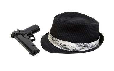 Black Fedora and gun