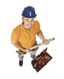 constructor worker and tools poster
