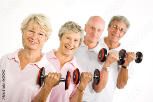 Poster Fitness Mature older people lifting weights
