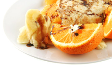 pancake with orange on dish