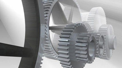 3d gears and gogs in motion