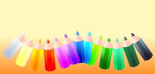 Arcobaleno di matite colorate