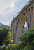 Train in motion on rail bridge,Vallo della Lucania,Salerno,Italy
