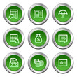 Banking web icons, green circle buttons series
