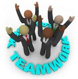 Teamwork - Team Members in Circle poster