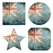 set of 4 grunge flag buttons of new zealand