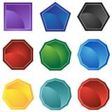polygon web icon set poster