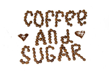 text by coffee beans