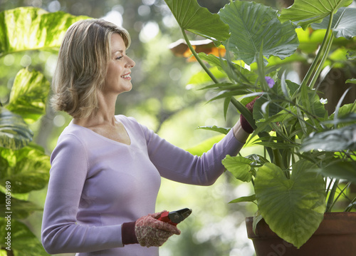 Woman outdoors gardening