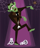 Zombie halloween character vector illustration poster