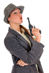 Businesswoman with weapon, gun