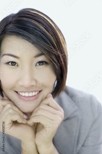 Businesswoman indoors with contact lenses
