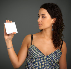 Woman with blank sign
