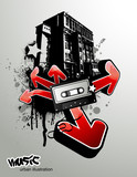 Fototapety urban music illustration with graffiti arrows