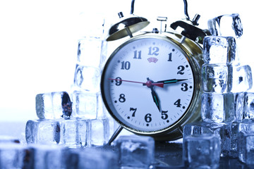 Ice, alarm clock, morning