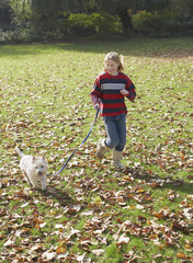 Young girl outdoors walking dog