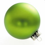 Green Christmas bauble, close-up