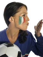 Italienischer weiblicher Fußballfan