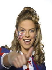 Amerikanischer weiblicher Sportfan