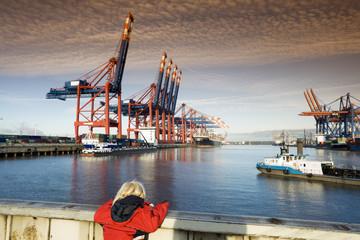 Deutschland, Hamburg, Waltershof, Container Terminal mit Schiffen