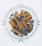 Ashtray with burnt cigarettes