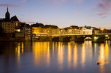Switzerland, Basel, Rhine river, cityscape at night