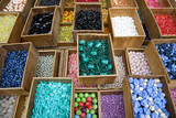 France, Paris, Market stall with buttons