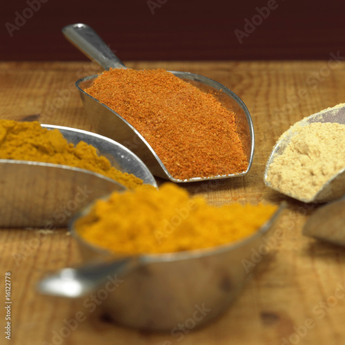 Curry, curcuma, white pepper and chilli powder in scoop, close-up
