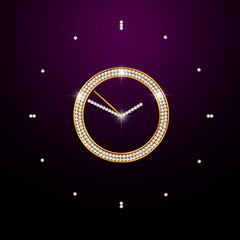 brilliant clock on dark background