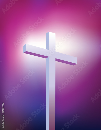 Christ on cross light beam background