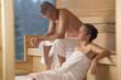 Älteres Paar Senioren in der Sauna