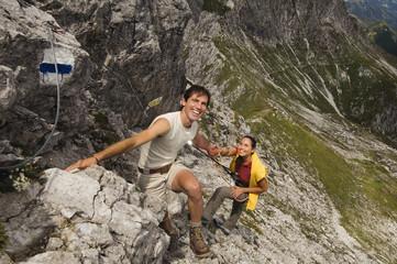 Österreich, Salzburger Land, Klettern Paar Berg