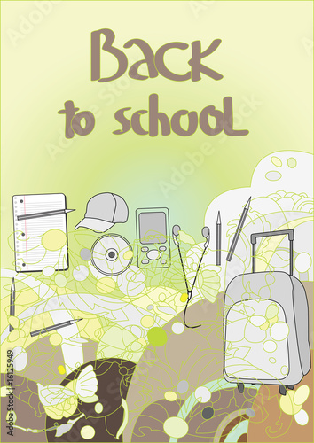 Back to school, abstract background with school materials